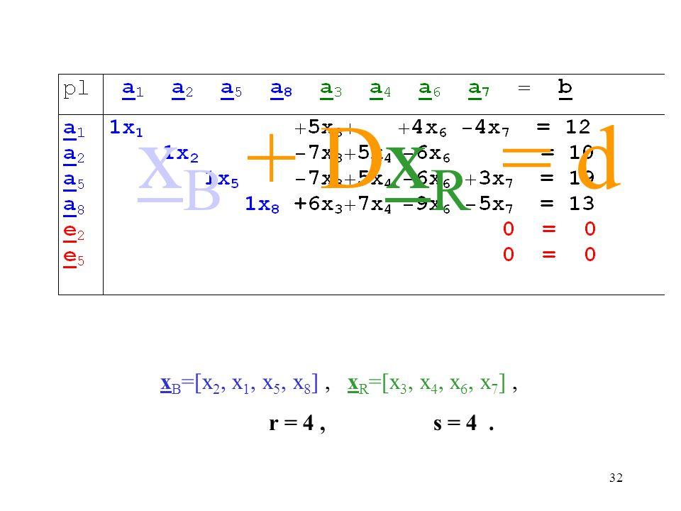 xB + DxR = d xB=[x2, x1, x5, x8] , xR=[x3, x4, x6, x7] ,